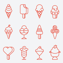 Ice cream set, thin line icons, flat design