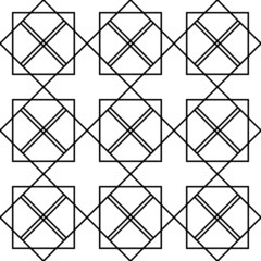 Black and white geometric seamless pattern with square and line.