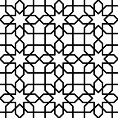 Black and white geometric seamless pattern in arabic stylish.