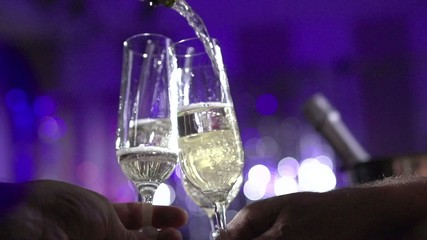 Toasting Champagne. Glasses with Sparkling Champagne