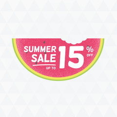 Summer Sale 15% off. Vector triangular background with watermelo