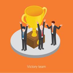 Victory team concept design 3d isometric vector illustration