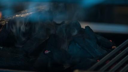 Horizontal dolly shot of extinct fireplace
