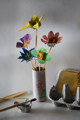 Flower bouquet made in kids creative activity