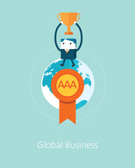 Flat Business character Series. business winner concept