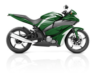 3D Image of a Green Modern Motorbike Concept