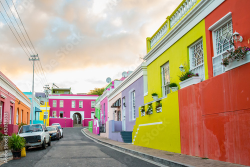 In de dag Afrika Colorful homes in the historic Bo-Kaap neighborhood in Cape Town