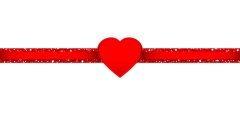 Shining Heart Glitter Ribbon Horizontal Red
