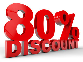 80% Discount over white Background