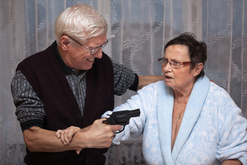 Mad senior with a gun