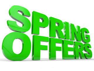 Spring  offers over white background