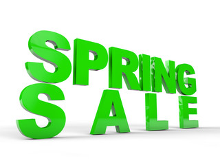 Spring sale over white background