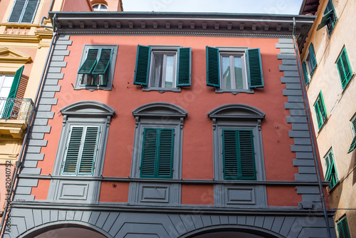 Leinwandbild Motiv Facciata palazzi signorili, centro storico, Pisa