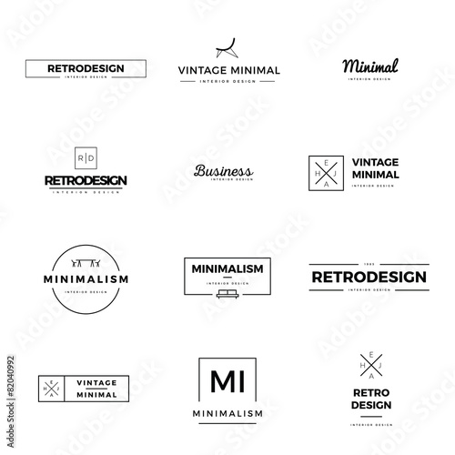 Set of modern and minimal vintage vector logos