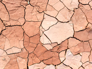 Close up of dry cracked mud on a hot day