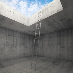 Metal ladder goes to the sky out from the concrete interior