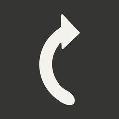 Flat in black and white mobile application arrow