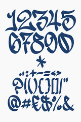 Numbers and symbols -  Graffiti font - Hand written