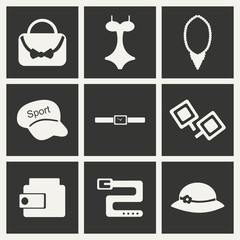 Flat in black and white concept mobile application  accessories