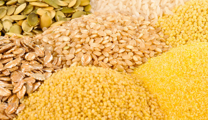Various grains or cereals close up