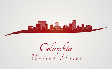 Columbia skyline in red