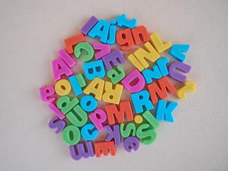Alphabet letters scattered