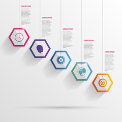 Infographic with hexagons on the grey background