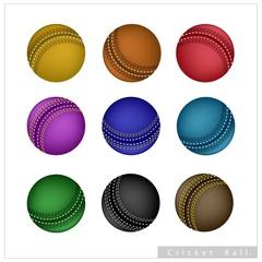 Set of Cricket Ball on White Background