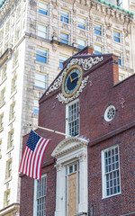 Flag on Old State House in Boston with Clock