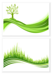 Set of green tree and grass growth vector eco concept.