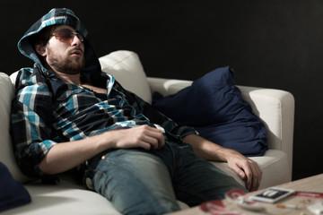 Junkie sleeping after drugs