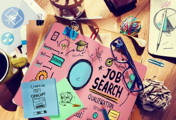 Job Search Qualification Recruitment Hiring Application Concept