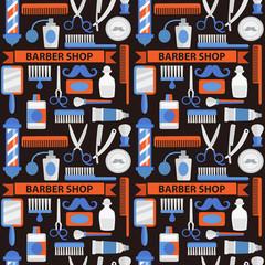 Seamless pattern barbershop. Pattern in brown colors.