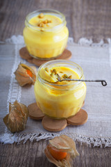 Panna cotta of almond milk with saffron