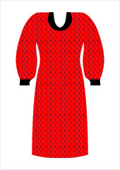 Knitted dress for women red and black