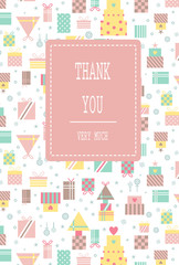 Seamless pattern with thank you lettering for greeting card