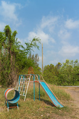 play equipment for children under sunlight in playground