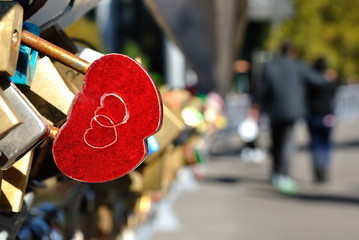 Red Heart Shaped Lock Concept of Love