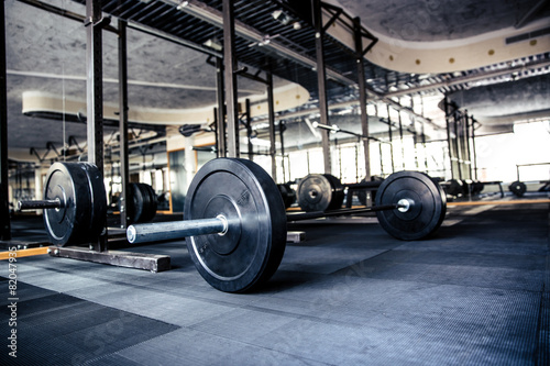 Gym interior with equipment - 82047935