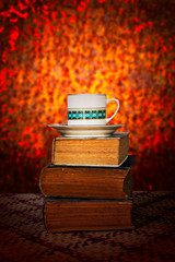coffee cup with old book retro