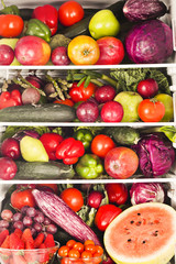 Fridge with fruits and vegetables