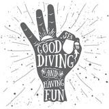 Ok sign premium vector graphic for scuba diving