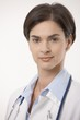 Close up portrait of female doctor in lab coat