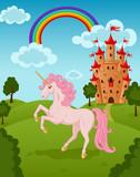 Unicorn with castle and rainbow