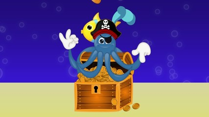 Funny pirate octopus squid with treasure under water