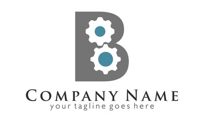 B Initial Letter gear engine logo