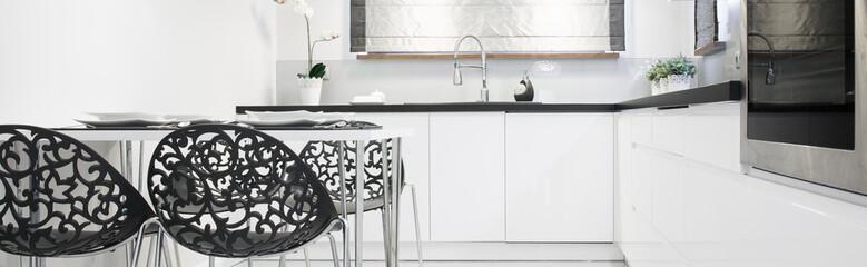 Panoramic photo of kitchen