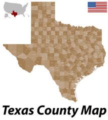 Karte aller Countys von Texas