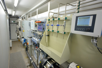 water filters treatment inside of plant