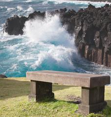 déferlante sur côte sauvage du sud de la Réunion